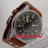 Corgeut 44mm black dial sapphire glass rivet 6497 hand winding men's watch C83