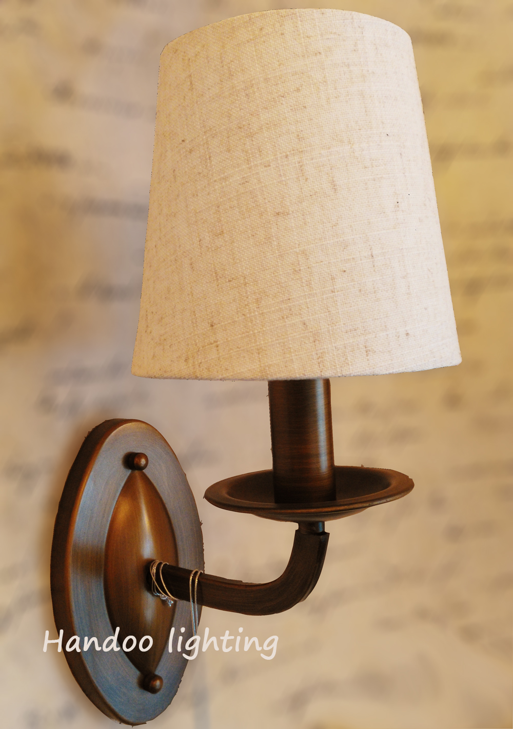 Free shipping retro style wall lamp Linen lampshade Vintage Iron copper color Wall lights personalized Copper Lamps
