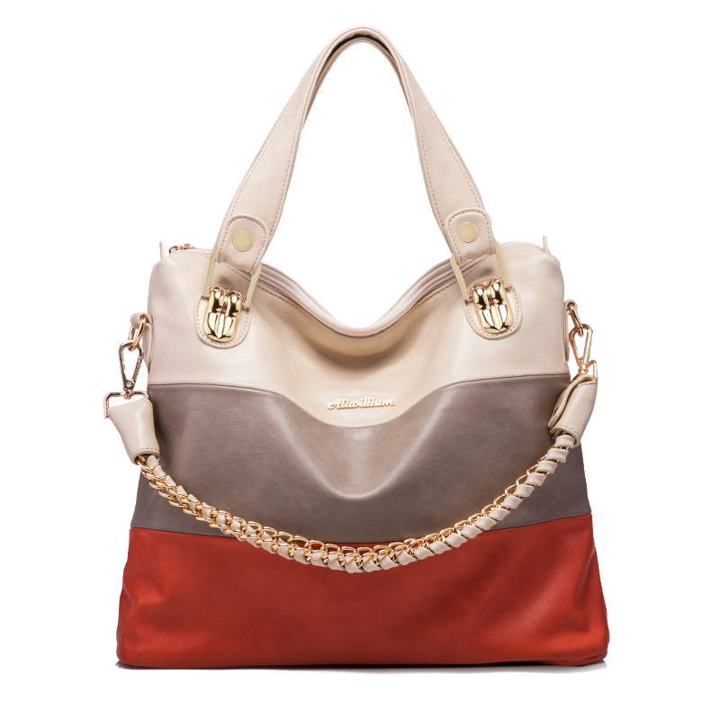 Leather Women Handbag Luxury Feminina Tote Chains Solid Color Messenger Bag Ladies Large Capacity Shoulder Bag For Women Sac A stylish checked and chains design tote bag for women