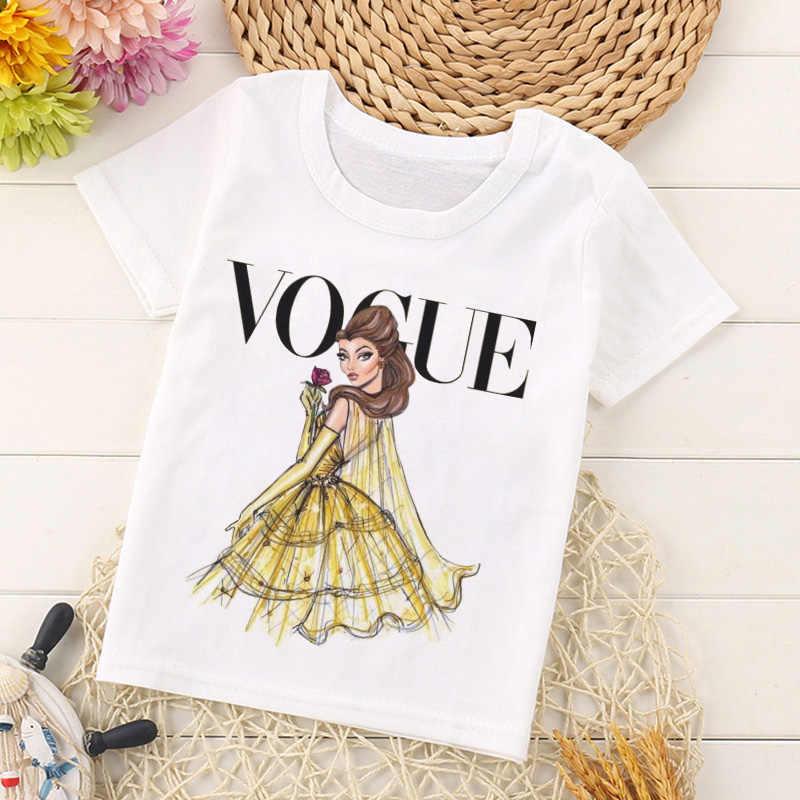 VOGUE Neue Ankunft Prinzessin Druck Kinder T-shirt Lustige Kawaii Cartoon Mädchen Top Harajuku Weiß Rundhals Kurzen Ärmeln Jungen t-shirt