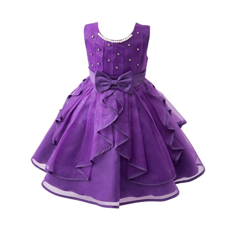 Low Price Fashion Bow Flower Girl Dress Party Birthday Wedding Princess Ball Gown Dress Baby Girls Clothes Kids Girl Dresses 2017 mint high low flower girl dress for wedding with long train crystals ball gown kids 1st birthday party outfits baby dresses