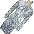 New Sliver Geometric Sequin Bandage Dress Long Sleeve Vintage Office Pencil  Dress Womens Sexy Dresses Party Night Club Dress