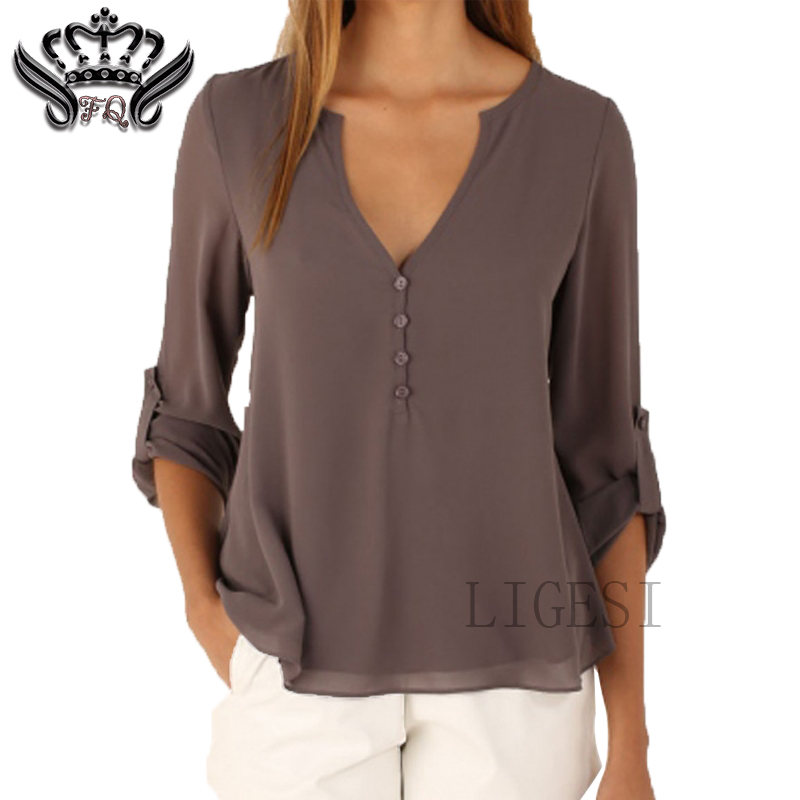 Summer Women Blouses New Fashion V-neck Long Sleeve Solid Color Ladies Office Shirts Casual Tops blusas y camisas mujer 2018