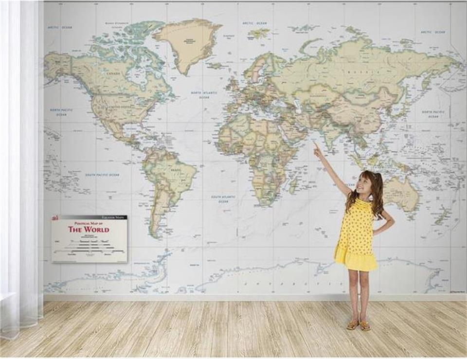 Wallpapers Honesty Classic Fashion Background Wallpaper Exquisite Light Color Version World Map Decorative Painting Photo Wallpaper Mural Beibehang