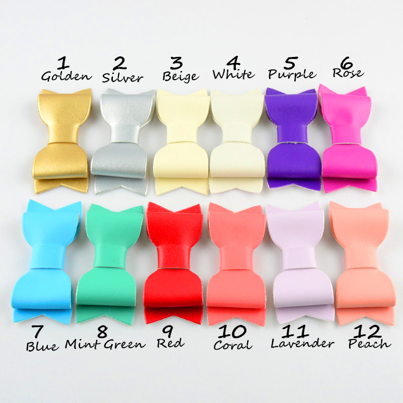 12pcs/lot 12 Color U Pick 3.15 Inch Faux Leather Bow Without Clips girls Hair Accessories DIY Craft Supply HDJ104