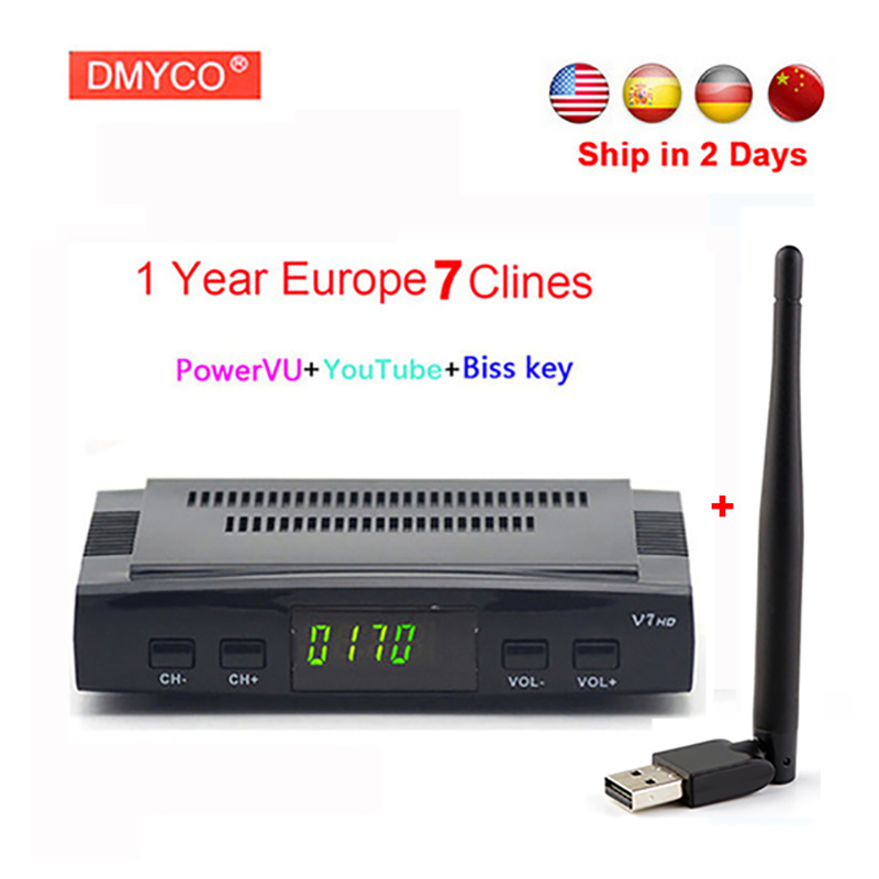 clines for 1 year europe spain portugal V7 HD DVB-S/S2 Satellite Receiver lnb 1080P FTA Tv receptor+USB WIFI Support 3G Youtube