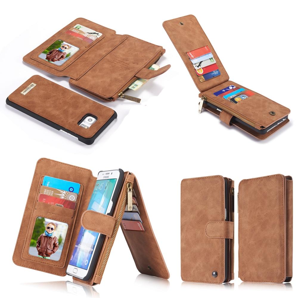 imágenes para Marca de lujo retro de cuero con cremallera bolso del teléfono case para samsung galaxy Borde S6 S7 S8 plus nota 5 Billetera Ranura de la Tarjeta Protectora cubierta