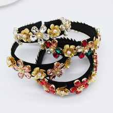 Jeweled Headband Women Jewel Gem Baroque Hair Accessories Jewelled Head Band Diamond Crown Pearl Metal Flowers Headwear