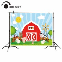 Allenjoy kids background for photography sunny wood house pinweel animals grassland red birthday farm backdrop baby photophone