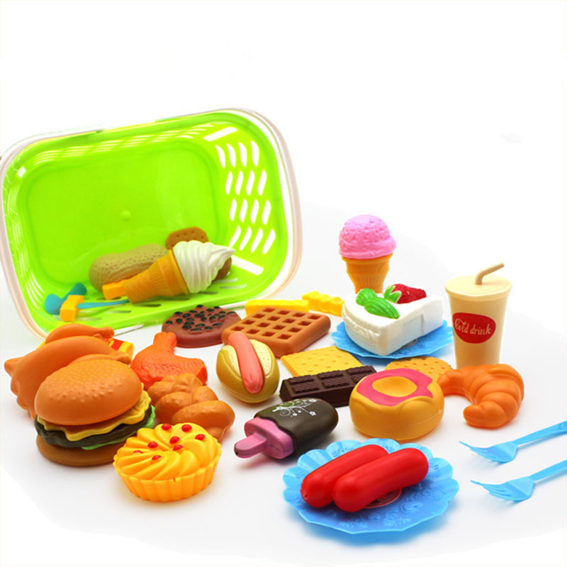 Kids Pretend Play Miniature Fun Kitchen Plastic Food Birthday Cake Hamburger Cookies Drink Gifts For Children's Educational Toys
