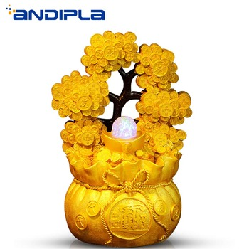 110-240V Chinese Handmade Gold Color Rich Tree Flowing Water Fountain Desktop Water Feature Lucky Feng Shui Home Decoration Gift