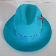Men's Fashion Fedoras Wool Cap Male Lake Blue Jazz Wool Cap Classic Light Blue F
