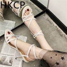 HKCP Sandals for the summer 2019: new Korean version of hip, stiletto high-heeled Andromeda cross Roman sandals C368