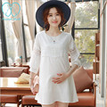 1528# Hollow Out Cutout A Line White Chiffon Maternity Shirts 2016 Summer Fashion Tops Clothes for Pregnant Women Pregnancy Wear