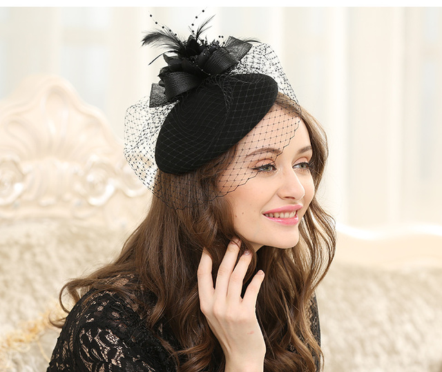 f59694701ab Brand Australian Wool Beret Hat For Women Fashion Autumn Feather Mesh  Fedora Wedding Hat White Red