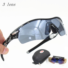 Radar  Sun Glasses Outdoor Sports Bicycle Glasses Bike Sunglasses  5 Lens UV400 Polarized Lens Myopia Frame