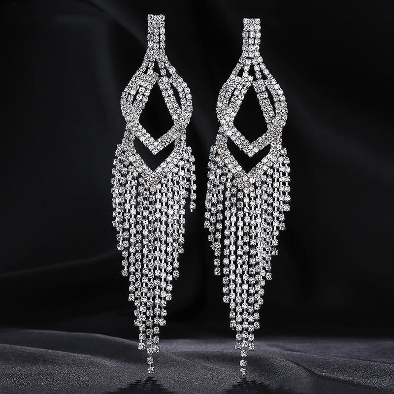 YIZILI New Fashion 2018 Crystal Tassel Earrings Pendant Earring Ethnic Style Hollow Drop Earrings Female Wedding Gift Hot E022