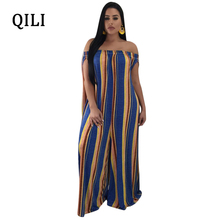 QILI New Summer Loose Jumpsuits Women Slash Neck Striped Wide Leg Casual Fashion Straight Long Pants Jumpsuit 2018