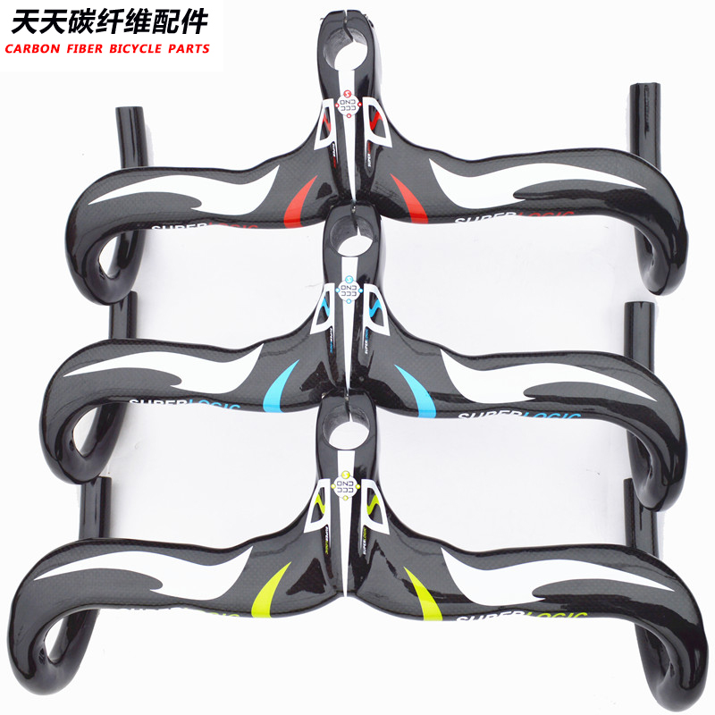 Full superlogic carbon fiber highway bicycle Road Bicycle Integrated Handlebar with stem Road Handlebar Bike Parts 400/420/440 advance txch bicycle carbon road handlebar full carbon fiber road bicycle integrated handlebar with stem bike parts