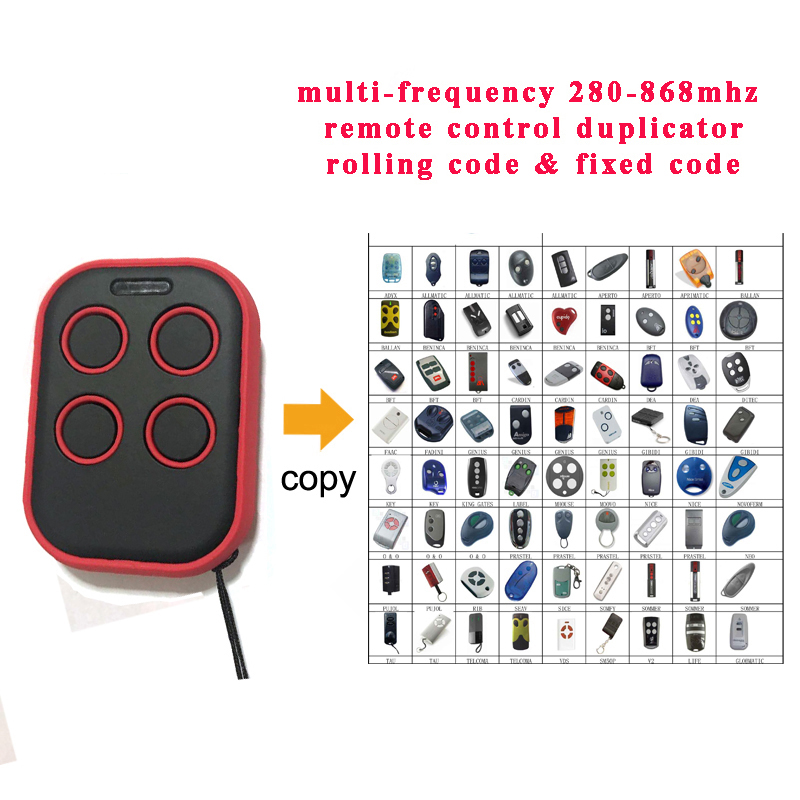 Electric Face to Face Copy Garage Door Opener Remote Control 4 Button 300-868Mhz Car Gate Transmitter Duplicator Rolling Code 2pcs rib sun t433 2ch 4ch 4 button garage door hand remote key copy duplicator fixed code