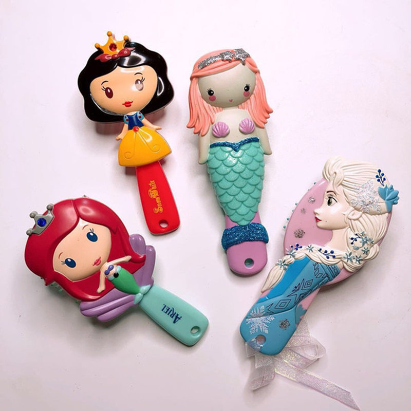 Disney Frozen Comb For Girls 3D Princess Frozen Hair Brushes Hair Care Baby Girl Care Mermaid Ariel Minnie Hair Comb Disney Toys