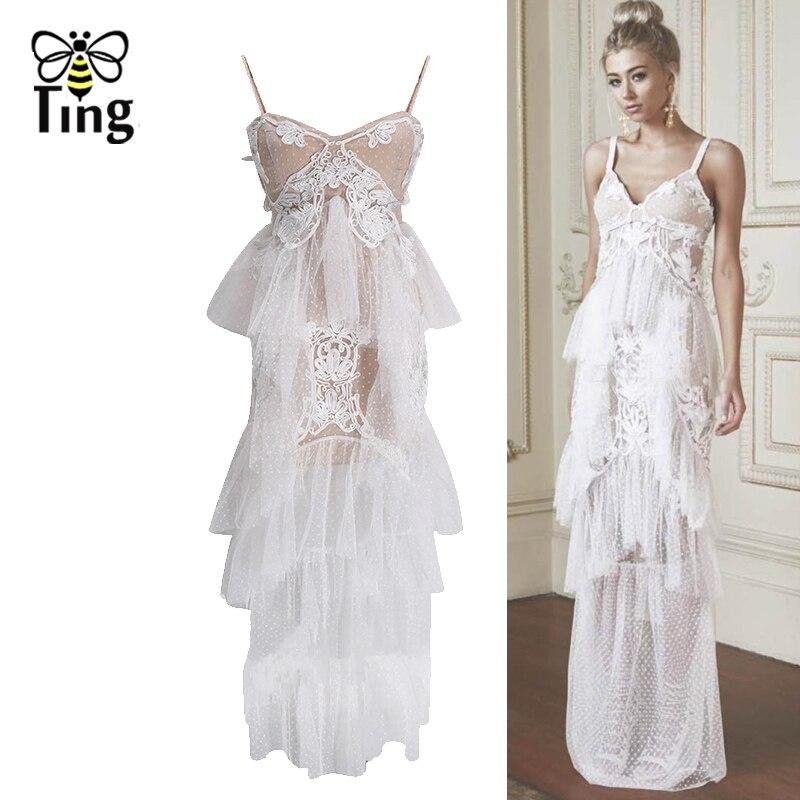 Tingfly Designer nouveau Style Sexy sangle à pois maille Maxi robe d'été fête robes de nuit Appliques volants couche longue robe
