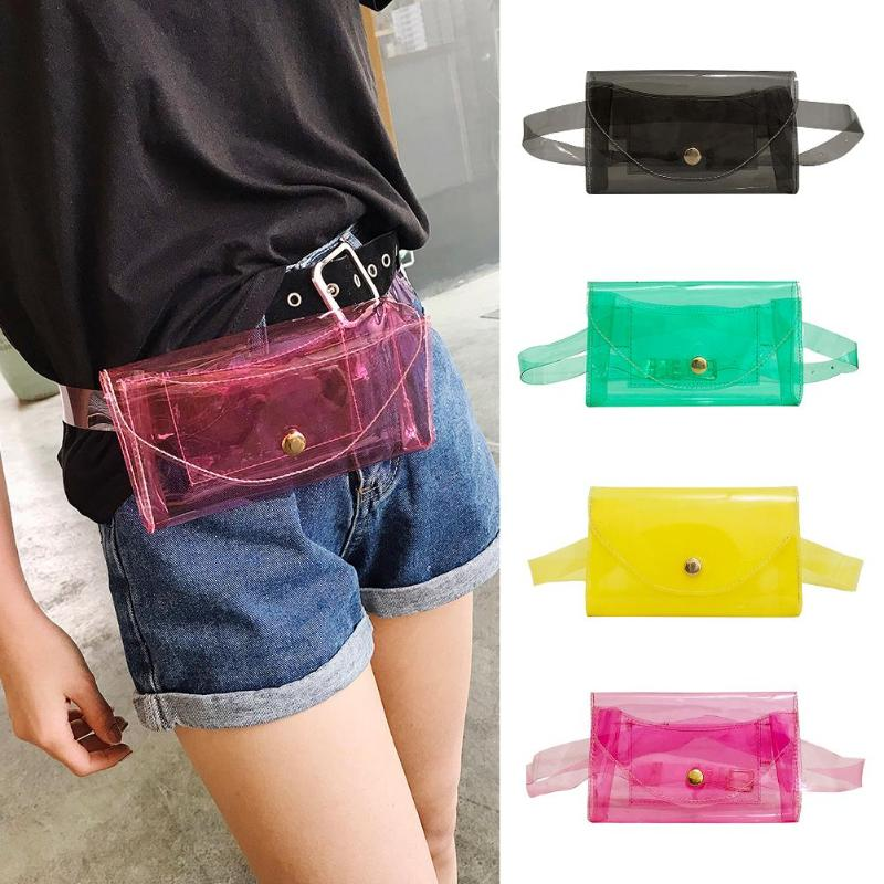 Beach Fanny Packs Waist Bags Women Transparent Jelly Chest Handbags Outdoor Waterproof Crossbody Bag Swimming Storage Bag