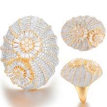 GODKI anneaux de luxe en Zircon cubique avec roue de fleurs, anneaux de fiançailles de mariée, fiançailles de mariage de dubaï, pour femmes