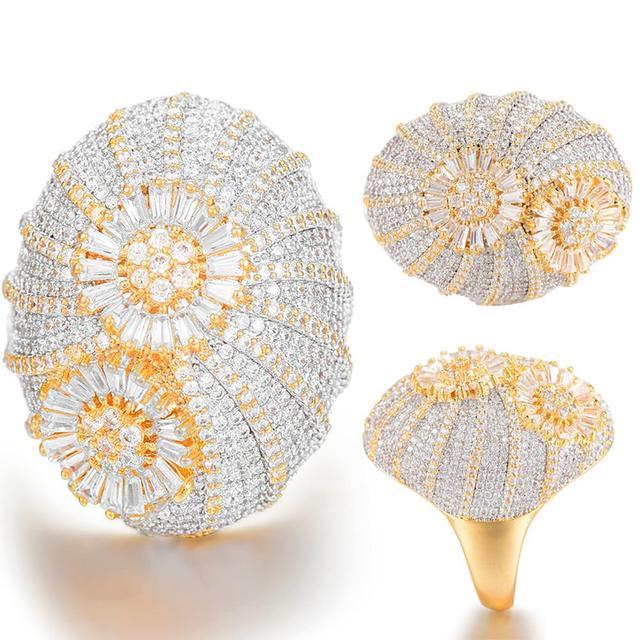 GODKI odważne stosy pierścień luksusowe kwiat koło CZ Cubic cyrkon pierścień CZ dla kobiet Bridal zaręczyny ślub dubaj pierścienie
