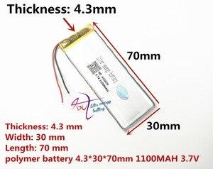Image 1 - أفضل بطارية العلامة التجارية 3.7 V بطارية ليثيوم بوليمر 433070 403070 1100 mAH