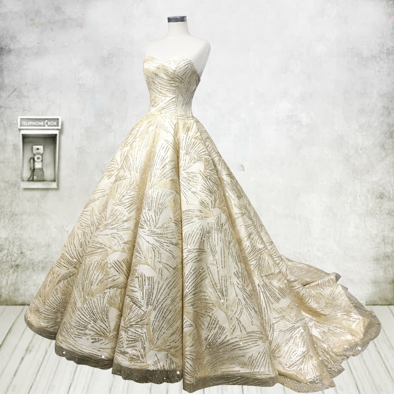 sparkly gold glitter ball gown wedding dresses 2017 sweetheart ruched sequins bridal gowns dubai arabic vestido