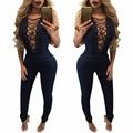 Womens Sexy Slim Denim Blue Sleeveless Bodycon Overall Jumpsuit Ladies Clubwear Jeans Long Pants Body Suits
