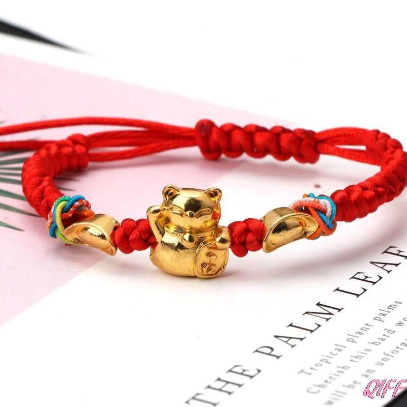 Kabbale chanceux chaîne rouge tressé or Fortune chat Bracelets bijoux de mode