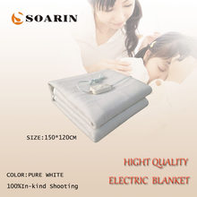 SOARIN Electric Blanket Double Pure White Electric Heating Blanket 220v Heated Blanket 150x120cm Manta Electrica Body Warmer Bed(China)