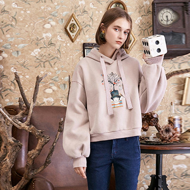 ARTKA Autumn and Winter New Preppy Style Casual Loose Hooded Pullover Print Women's Sweatshirt VA10285D