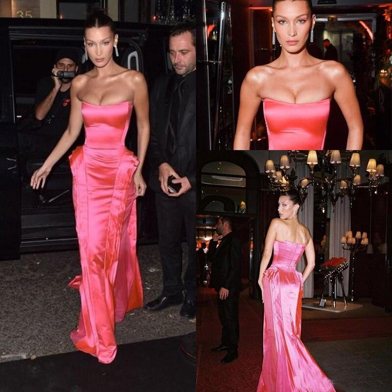 Hot Pink Strapless Prom Formal Dresses