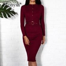 Для женщин миди Платья-свитеры осень-зима Новая мода кнопка с длинным рукавом карандаш вязаное платье Для женщин облегающее платье черный, красный