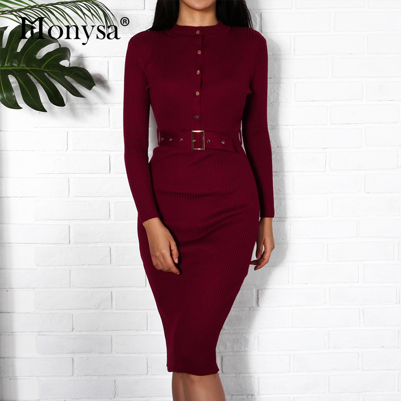 5a84facd200 US $16.71 35% OFF|Women Midi Sweater Dress Autumn Winter 2018 New Fashion  Button Long Sleeve Pencil Dress Knitted Women Bodycon Dress Black Red-in ...