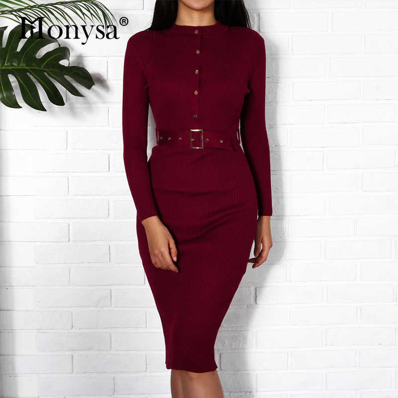 e4936b122f3c Women Midi Sweater Dress Autumn Winter 2018 New Fashion Button Long Sleeve  Pencil Dress Knitted Women