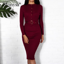 Women Midi Sweater Dress Autumn Winter 2018 New Fashion Button Long Sleeve Pencil Dress Knitted Women Bodycon Dress Black Red(China)
