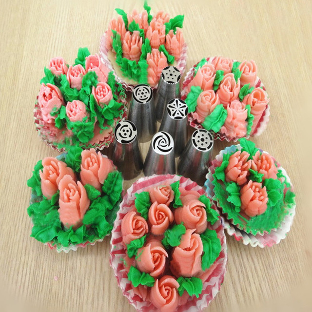 1pc Russian Tulip Flower Metal Cutter Mold Icing Piping Nozzles Pastry Tips Buttercream Cupcake Cake Bakeware DIY Mould