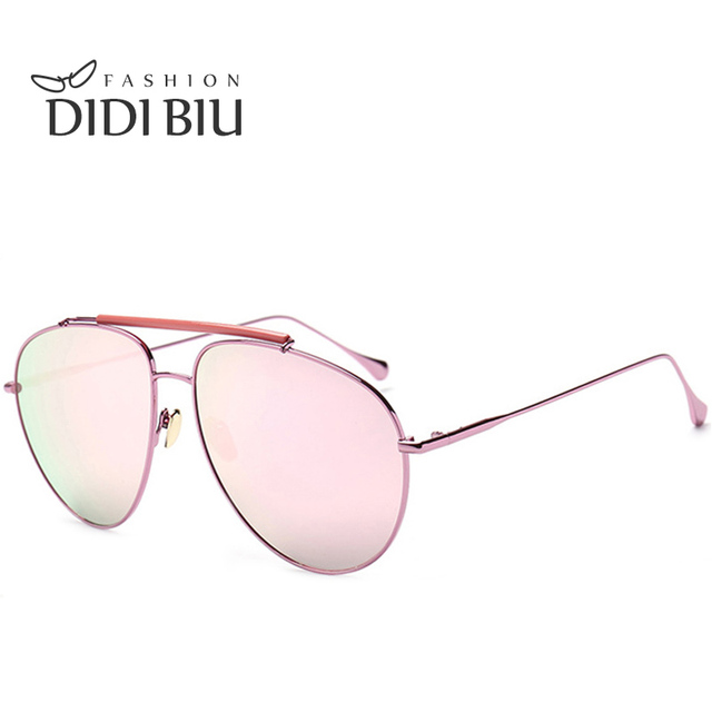67bef460ba1 DIDI Aviator Reflective Sunglasses Women Men Flat Top Metal Thin Frame Coating  Mirror Eyewear Uv Protection