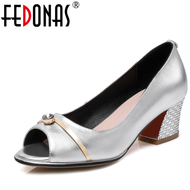 FEDONAS Women Pumps Spring Autumn All Match OL Square Heel Fashion Genuine Leather Shoes Woman Peep Toe Wedding Party Shoes
