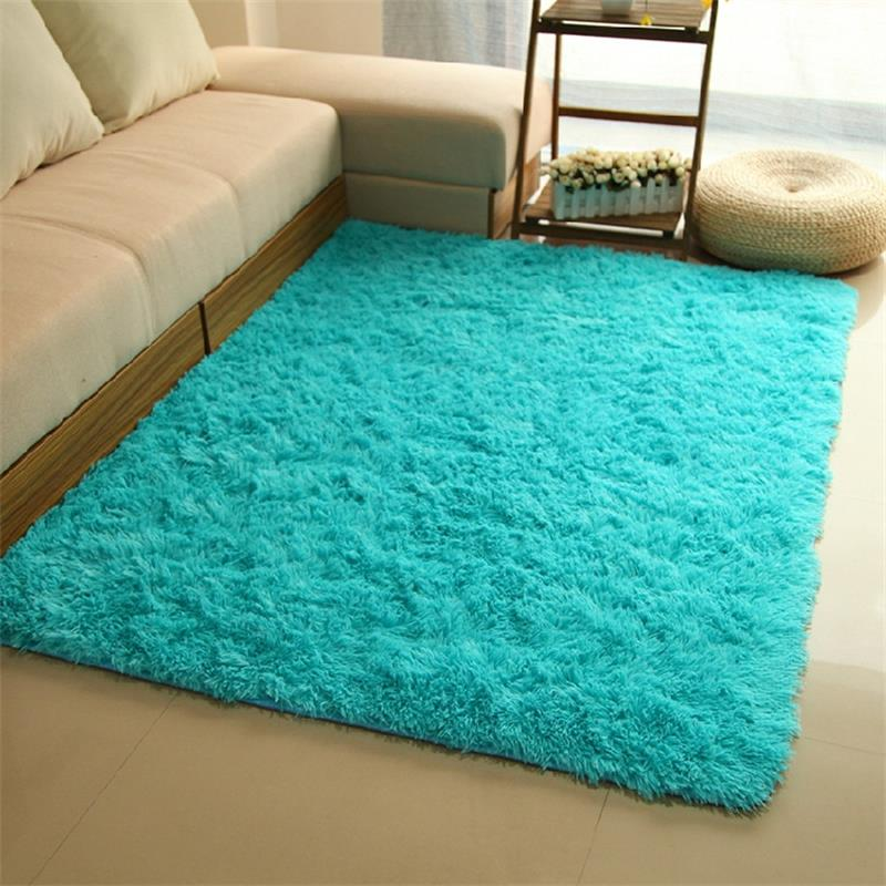 Plush soft carpets for living room home decoration bedroom - Alfombra verde agua ...