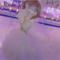 Роскошный Горный Хрусталь Свадебные Платья Атласная Sexy Русалка Свадебные Платья Noivas Блеск Кристалл Свадебное Платье Рыбий Хвост Tull Суд Поезд
