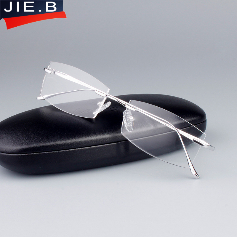 JIE B Pure Titanium Eyeglasses Men Frames Rimless Glasses Myopia Spectacle Optical glasses frames vintage classic