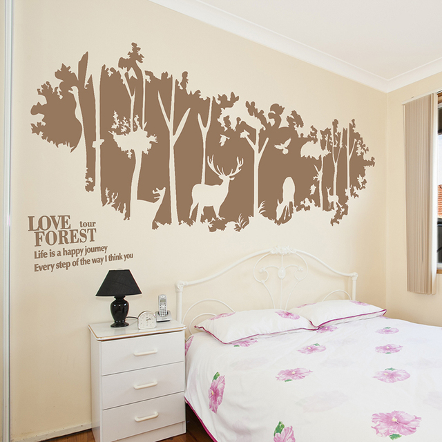 [SHIJUEHEZI] Handmade Forest Wall Stickers Animal Deer Birds Jungle Mural  Art For Living Room