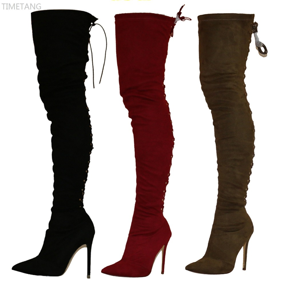 Hot selling Fashion stretch fabric pointed toe Sexy Lace up thin High heels over-the-knee long boots 5 Color 6-11 Autumn boots