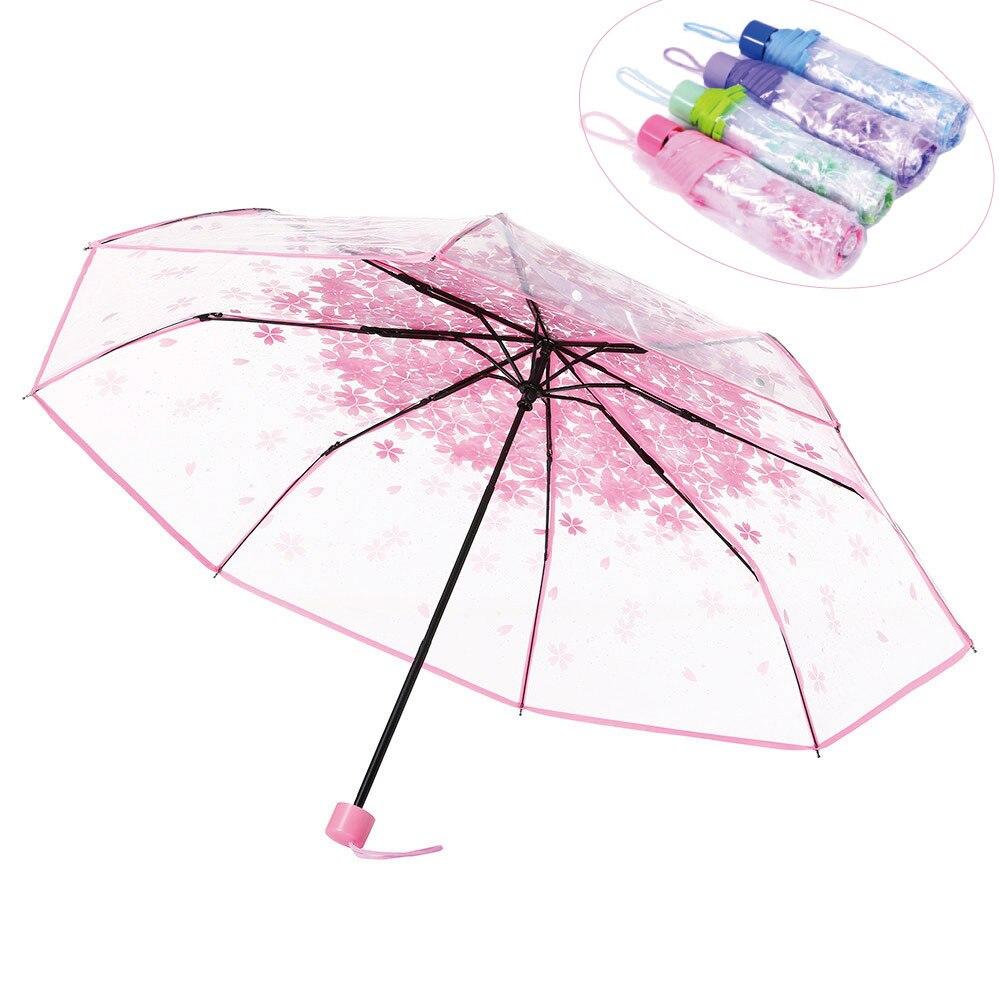 Sunshade Umbrella Blossom-Mushroom-Type Rain Transparent Women Three-Folding Fashion