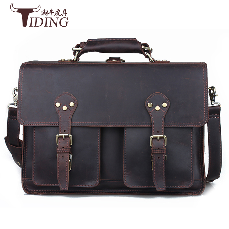 "Men Crazy Horse Genuine Leather Briefcase Handbags Leather 17"" Laptop Bag Big Shoulder Crossbody Bags for Man Messenger Bags"